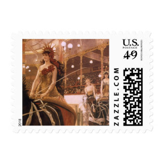 Ladies of the Cars (Circus) by Tissot, Vintage Art Stamp