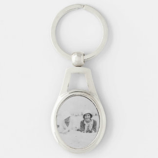 Ladies On Beach Image Metal Oval Keychain