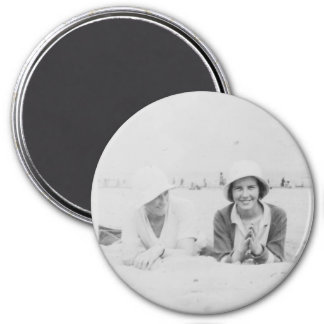 Ladies On Beach Old Image Large Round Magnet