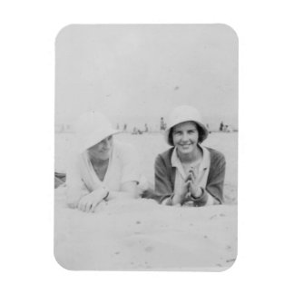 Ladies On Beach Old Image Photo Magnet