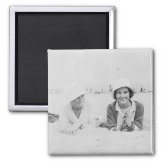 Ladies On Beach Old Image Square Magnet