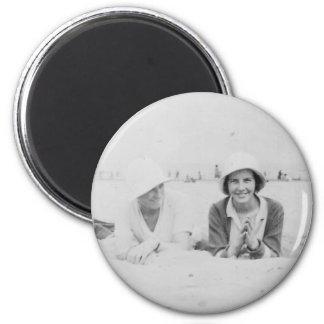 Ladies On Beach Old Image Standard Round Magnet