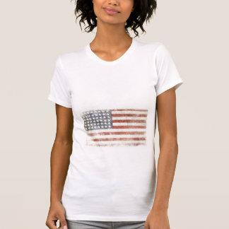 Ladies Petite Tee with Distressed USA Flag