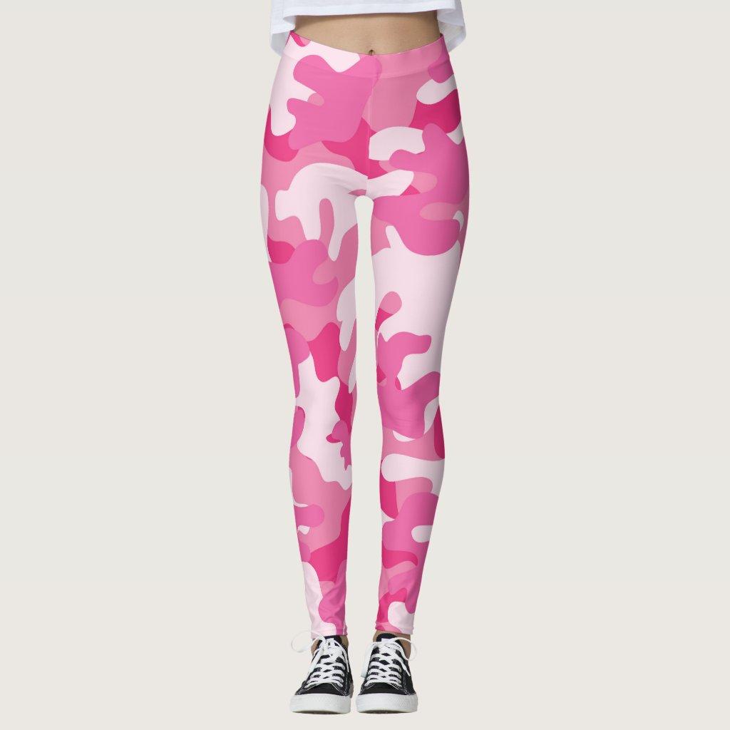 Ladies Pink Camouflage Leggings