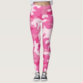 Ladies Pink Camouflage Leggings