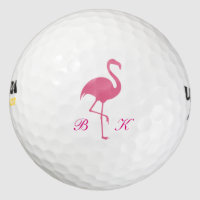 Ladies Pink Flamingo Monogram Golf Balls