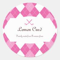Ladies Pink Golf Argyle Classic Round Sticker