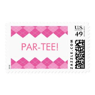 Ladies Pink Golf Argyle Par-Tee Postage