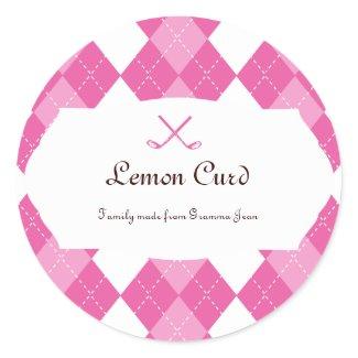 Ladies Pink Golf Argyle sticker