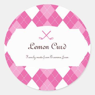 Ladies Pink Preppy Golf Argyle Gift Favor label