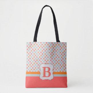 Ladies Polka dotted, Initialed Golf Tote Bag