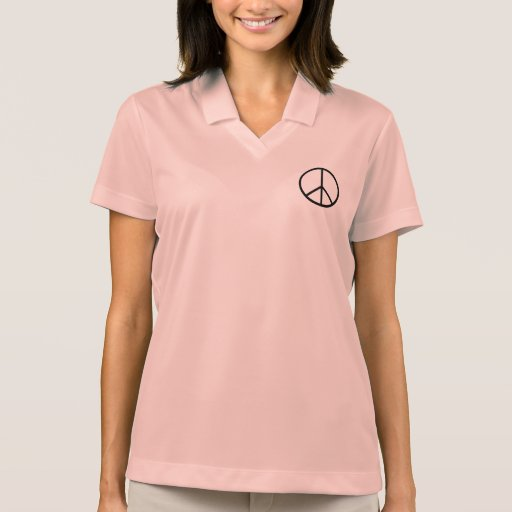 Ladies Polo shirt pink with Peace symbol