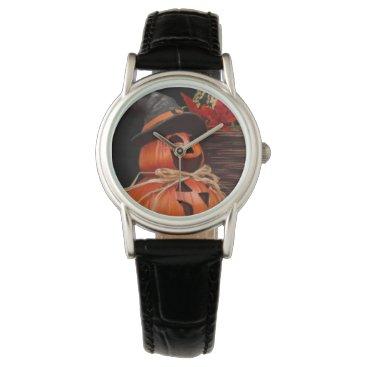 Halloween Themed Ladies Pumpkin man Classic Black Leather Watch
