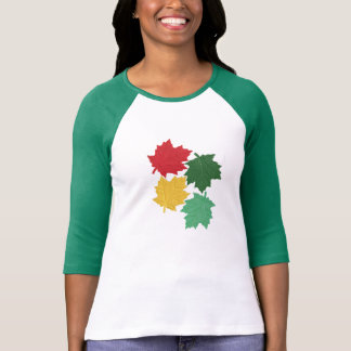 Ladies Raglan Green Sleeve Bold Leaf Pattern T-Shirt