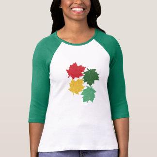 Ladies Raglan Green Sleeve Bold Leaf Pattern T-shirt