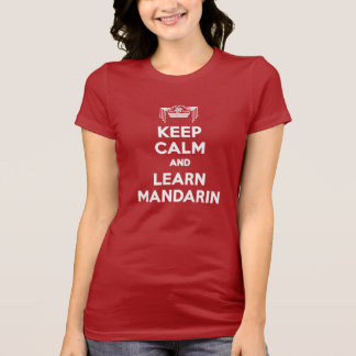Ladies Red Keep Calm and Learn Mandarin Shirt