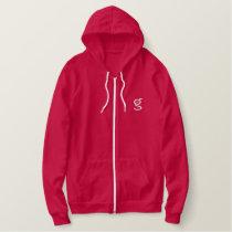Ladies Red Zip Hoodie w White Logo