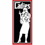 "Ladies Restroom/Bathroom sign Statuette<br><div class=""desc"">Black and white illustration of a beautiful mob wife (?) with long wavy hair and fur stole. Godfather theme.</div>"