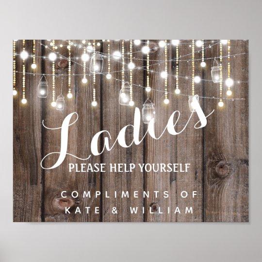 Ladies Restroom Sign - Toiletries Basket Rustic