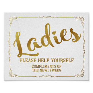 Ladies restroom sign - toiletries basket sign poster