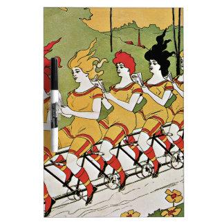 Ladies Riding Vintage Bicycle Dry-Erase Board