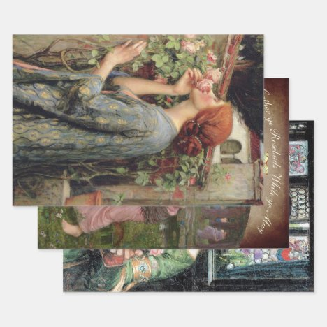 LADIES & ROSES WATERHOUSE HEAVY WEIGHT DECOUPAGE WRAPPING PAPER SHEETS