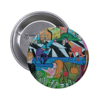 Ladies shopping in the Toon Pinback Button