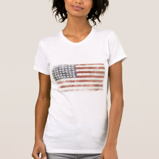 Ladies Spaghetti Top with Distressed USA Flag T-shirt