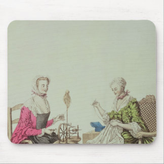 Ladies spinning and sewing, c.1765 mouse pad