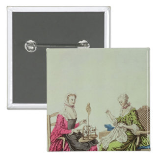 Ladies spinning and sewing, c.1765 pinback button