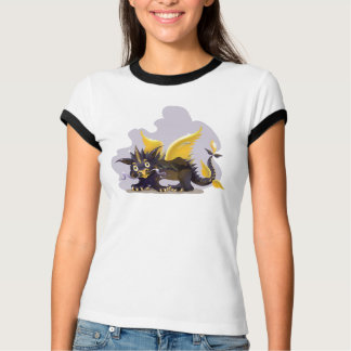 Ladies T-shirt with funny black dragon picture