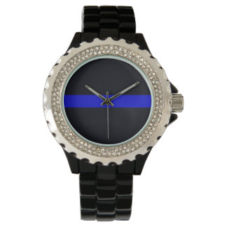 Ladies Thin Blue Line Rhinestone Watch