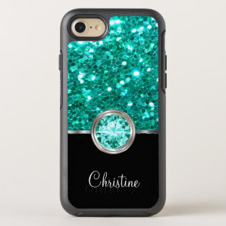 Ladies Turquoise Faux Glitter OtterBox Symmetry iPhone 8/7 Case
