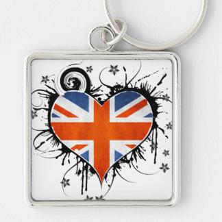 Ladies Union Jack Floral Heart Keychain