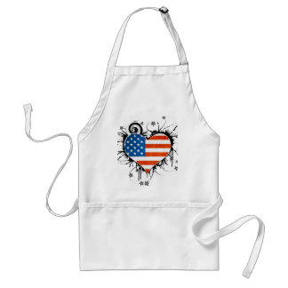 Ladies USA Flag Floral Heart Frame Adult Apron