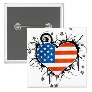 Ladies USA Flag Floral Heart Frame Pinback Buttons