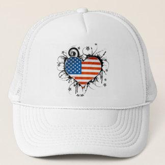 Ladies USA Flag Floral Heart Frame Hat