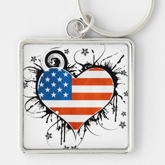 Ladies USA Flag Floral Heart Frame Keychain