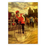 LADIES VINTAGE BIKE RACING BICYCLE RACE GREETING CARDS