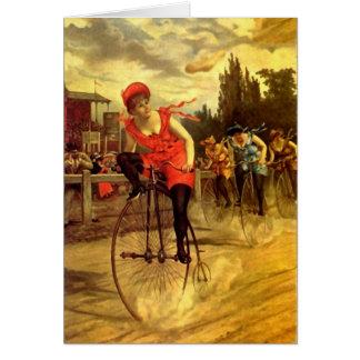 LADIES VINTAGE BIKE RACING BICYCLE RACE GREETING CARD