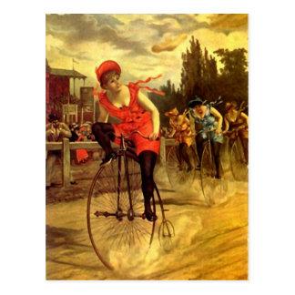 LADIES VINTAGE BIKE RACING BICYCLE RACE POSTCARD