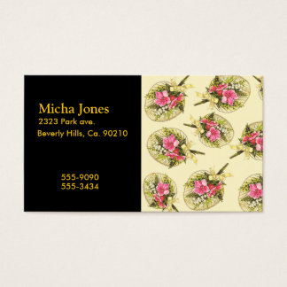 Ladies Vintage Fan With Floral Business Card
