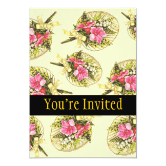 Ladies Vintage Fan With Floral 5x7 Paper Invitation Card