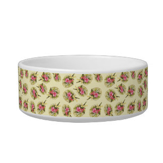 Ladies Vintage Fan With Floral Pet Food Bowl