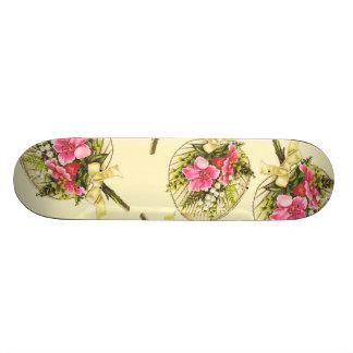 Ladies Vintage Fan With Floral Skateboard