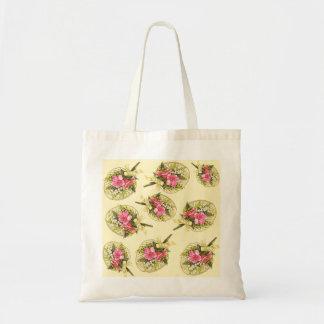 Ladies Vintage Fan With Floral Tote Bag