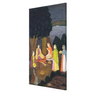 Ladies visiting a Yogini, School of Faqurullah Kha Canvas Print