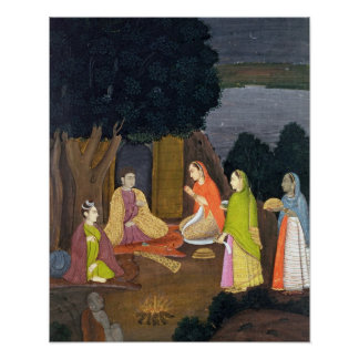Ladies visiting a Yogini, School of Faqurullah Kha Posters