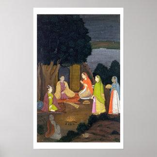 Ladies visiting a Yogini, School of Faqurullah Kha Poster