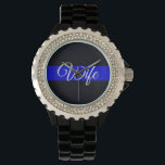 "Ladies Wife Thin Blue Line Rhinestone Watch<br><div class=""desc"">A unique way to show your LEOW pride. Quality watch with rhinestone detailing,  perfect for any Law Enforcement wife. Customize or select from other styles.</div>"